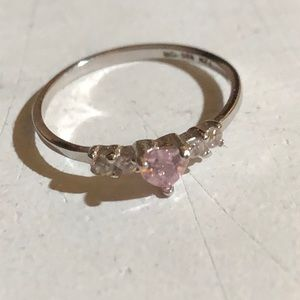 Little Girl Silver Plated/Pink Topaz 💗 Ring NWOT